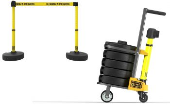 "Banner Stakes PL4005 PLUS Cart Package, Yellow ""Cleaning in Progress"" Banner"