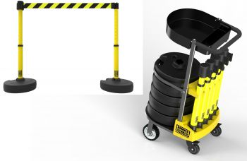 Banner Stakes PL4008T PLUS Cart Package with Tray, Yellow/Black Diagonal Stripe Banner
