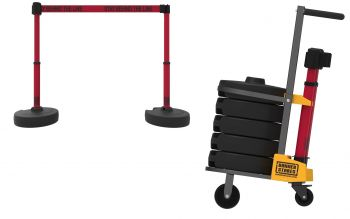 """Banner Stakes PL4012 PLUS Cart Package, Red """"Stay Behind The Line"""" Banner"""