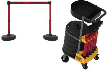 """Banner Stakes PL4012T PLUS Cart Package with Tray, Red """"Stay Behind The Line"""" Banner"""
