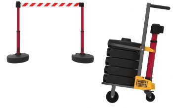Banner Stakes PL4014 PLUS Cart Package, Red/White Stripe Banner