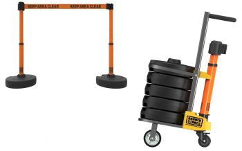 """Banner Stakes PL4015 PLUS Cart Package, Orange """"Keep Area Clear"""" Banner"""