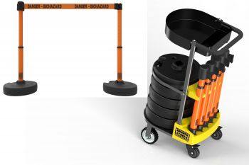 """Banner Stakes PL4016T PLUS Cart Package with Tray, Orange """"Danger - Biohazard"""" Banner"""