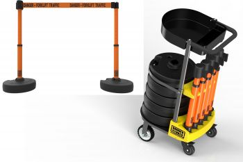 """Banner Stakes PL4017T PLUS Cart Package with Tray, Orange """"Danger - Forklift Traffic"""" Banner"""