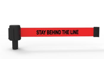 """Banner Stakes PL4050 PLUS Red """"Stay Behind Line"""" Banner"""