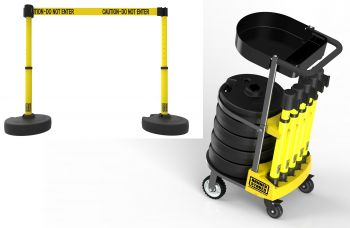 "Banner Stakes PL4078T PLUS Cart Package with Tray, Yellow ""Caution-Do Not Enter"" Banner"