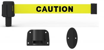 "Banner Stakes PL4106-DS PLUS Wall Mount System, Yellow Double-Sided ""Caution"""