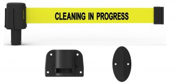 "Banner Stakes PL4110 PLUS Wall Mount System, Yellow ""Cleaning in Progress"""