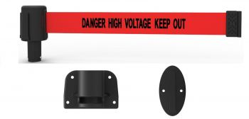 "Banner Stakes PL4115 PLUS Wall Mount System, Red ""Danger High Voltage Keep Out"""