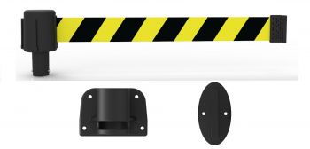 Banner Stakes PL4121 PLUS Wall Mount System - Yellow/Black Diagonal Stripe Banner