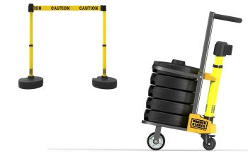 """Banner Stakes PL4122 PLUS Cart Package, Yellow Double-Sided """"Caution"""" Banner"""