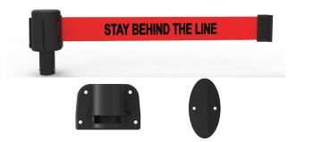 """Banner Stakes PL4125 PLUS Wall Mount System, Red """"Stay Behind the Line"""" Banner"""