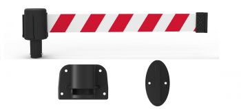 Banner Stakes PL4126 PLUS Wall Mount System, Red/White Diagonal Stripe Banner