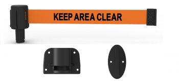 """Banner Stakes PL4128 PLUS Wall Mount System, Orange """"Keep Area Clear"""" Banner"""