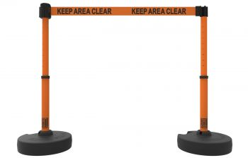 """Banner Stakes PL4200 PLUS Barrier Set X2, Orange """"Keep Area Clear"""""""