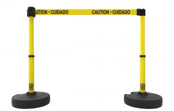 "Banner Stakes PL4284 PLUS Barrier Set X2, Yellow ""Caution-Cuidado"""