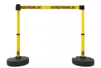 """Banner Stakes PL4287 PLUS Barrier Set X2, Yellow """"Authorized Personnel Only"""""""