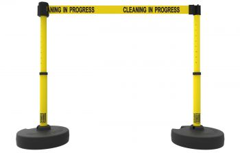 "Banner Stakes PL4288 PLUS Barrier Set X2,Yellow ""Cleaning in Progress"""