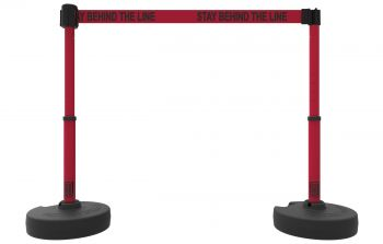 "Banner Stakes PL4295 PLUS Barrier Set X2, Red ""Stay Behind Line"""