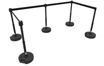 Banner Stakes PL4504 PLUS Barrier Set X5, Blank Black Banner