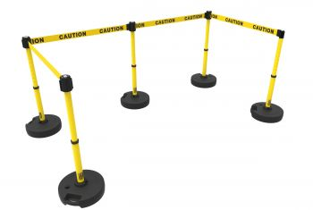 "Banner Stakes PL4583 PLUS Barrier Set X5,Yellow Double-Sided ""Caution"""