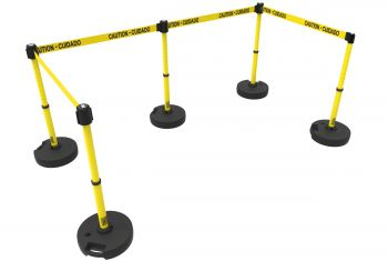 """Banner Stakes PL4584 PLUS Barrier Set X5, Yellow """"Caution-Cuidado"""""""