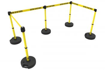 """Banner Stakes PL4585 PLUS Barrier Set X5, Yellow """"Caution-Do Not Enter"""""""