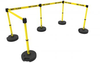 """Banner Stakes PL4586 PLUS Barrier Set X5, Yellow """"Wet Floor"""""""