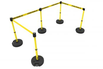 "Banner Stakes PL4587 PLUS Barrier Set X5, Yellow ""Authorized Personnel Only"""