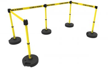 """Banner Stakes PL4588 PLUS Barrier Set X5,Yellow """"Cleaning in Progress"""""""