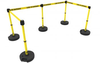 """Banner Stakes PL4590 PLUS Barrier Set X5, Yellow """"Closed for Maintenance"""""""