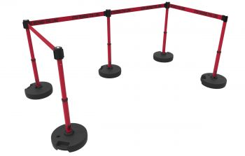 """Banner Stakes PL4595 PLUS Barrier Set X5, Red """"Stay Behind Line"""""""