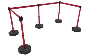 Banner Stakes PL4599 PLUS Barrier Set X5, Blank Red Banner