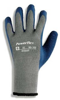 Ansell PowerFlex 80-100 Gloves Cotton Material Gray Color - 144/Case