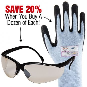 Save 20% - Buy 12 Pairs Pyramex Venture II Safety Glasses and 12 Pairs of Armor Guys Blue Extra Flex Gloves!