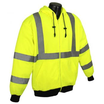 Class 3 High Visibility Hooded Zip-Up Sweatshirt
