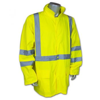 Radians RW10-3S1Y Radwear Class 3 Lightweight Rain Jacket with Reflectivz Weatherproof Yellow Color - 1 EA
