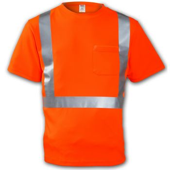 Tingley Class 2 T-Shirt Fluorescent Orange-Red Short Sleeve 1 Pocket Silver Reflective Tape