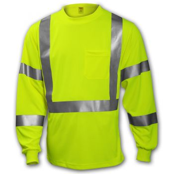 Tingley Class 3 T-Shirt Fluorescent Yellow-Green Long Sleeve | S75522