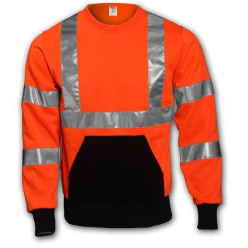 Tingley Class 3 Sweatshirt Fluorescent Orange-Red Crew Neck | S78029