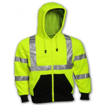 Tingley Class 3 Sweatshirt Fluorescent Yellow-Green Hooded Zipper | S78122