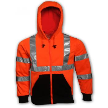 Tingley Class 3 Sweatshirt Fluorescent Orange-Red Hooded Zipper Closure | S78129