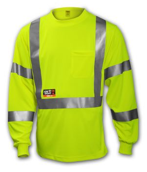 Tingley Class 3 FR T-Shirt Fluorescent Yellow-Green Long Sleeve 1 Pocket Silver FR Reflective Tape