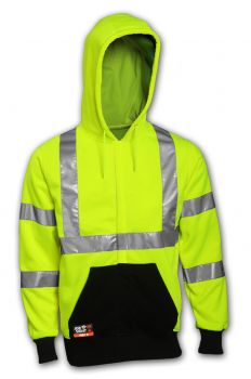 Tingley Class 3 FR Sweatshirt Fluorescent Yellow-Green Hooded FR Zipper Closure 2 Pockets Silver FR Reflective Tape