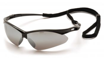 Pyramex PMXTREME Black Frame/Silver Mirror Lens With Black Cord (1 Box of 12)