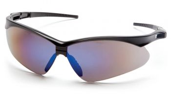 Pyramex Safety - PMXTREME - Black Frame/Blue Mirror Lens with Black Cord Polycarbonate Safety Glasses - 12 / BX