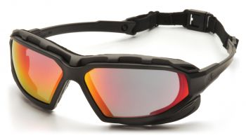 Pyramex  Highlander Plus  BlackGray Frame/Sky Red Mirror AntiFog Lens  Safety Glasses  12/BX