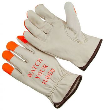 HI-VIS ORANGE FINGERTIPPED, GRAIN COWHIDE LEATHER DRIVER GLOVE. - Medium 12 PAIRS