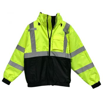 Tingley J26172 Bomber 3.1 Jacket Fluorescent Yellow-Green-Black Silver Reflective Tape Polyester Quilted Liner Attached Hood