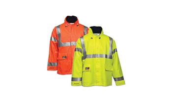 Tingley Eclipse Coat Fluorescent Orange-Red Attached Hood Silver Reflective Tape
